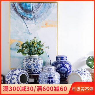 Jingdezhen blue and white porcelain vases, pottery and porcelain flowers grain dry flower household TV ark, sitting room adornment simulation flower arranging flowers