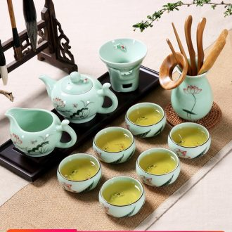 Household longquan celadon lotus carp kung fu tea set ceramic teapot teacup I and contracted style chaoshan