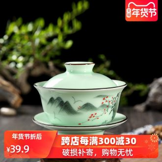 The Home of kung fu tea set ceramic longquan celadon hand - made tureen tea cup bowl bowl three cups of small size