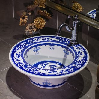 The stage basin sink hand - made small family of archaize of blue and white porcelain bowl lavatory new Chinese style restoring ancient ways ceramic wash basin