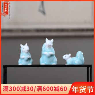 Zen new Chinese style ceramic creative home furnishing articles squirrel soft outfit rich ancient frame between example porch decoration decoration