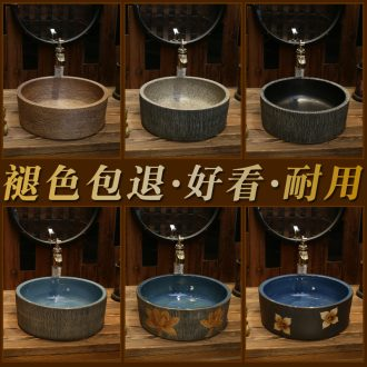 Creative restoring ancient ways round the stage basin sink European art basin of Chinese style ceramic basin of the basin that wash a face