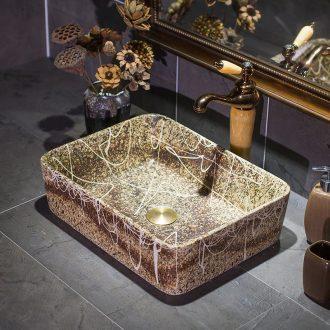 Square large size on the ceramic bowl lavatory basin basin Mediterranean art restoring ancient ways the sink water basin