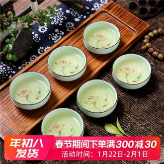 Longquan celadon tea sets hand - made small lotus lotus kunfu tea cups ceramic tea cup tea tea cup