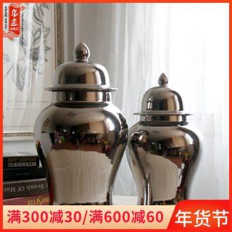 Jingdezhen ceramic general tank silver pot - bellied storage tank villa home sitting room adornment flower vase furnishing articles
