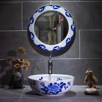 On the Europe type restoring ancient ways of blue and white porcelain basin round ceramic lavatory toilet stage basin, art basin On the sink