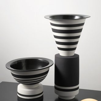 The modern simple black and white stripe ceramic vase household adornment art geometry splicing example room porch