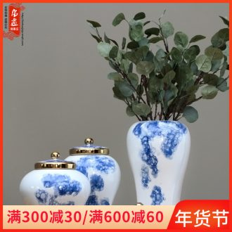 Jingdezhen ceramic hand - made flowers in the living room see colour porcelain pot dry flower receptacle creative decoration household act the role ofing is tasted furnishing articles