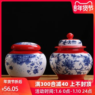 The Product blue and white porcelain remit double - color caddy fixings circular storage POTS many ceramic seal pot peony general