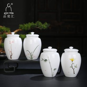 The Product is porcelain sink by patterns white porcelain tea pot seal storage tank pu 'er tea ceramic tea pot home