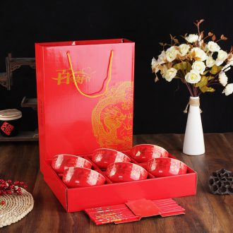 Package mail festive wedding ceramic bowl chopsticks set tableware reply question red bowl bowl wedding gift set to use