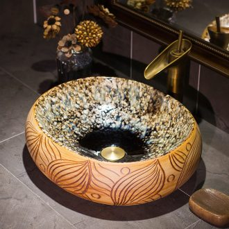 Chinese jingdezhen up art stage basin oval ceramic lavatory toilet stage basin on the sink