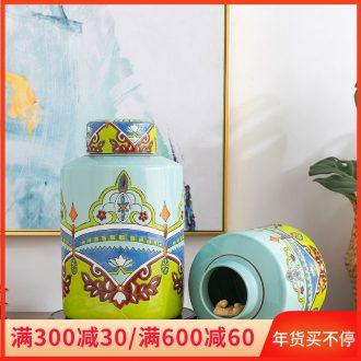 Jingdezhen ceramic storage tank moistureproof pot home sitting room porch decoration decoration wine ou with cover POTS