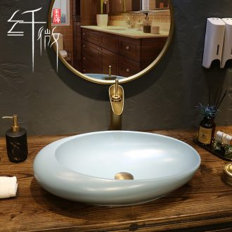 Creative Nordic ceramic stage basin sink art square blue contracted household bathroom sinks