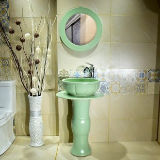 Ceramic basin of pillar type lavatory a whole balcony sink pillar of small family toilet floor for wash gargle