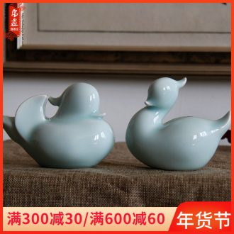 Lovely place to live in the sitting room the bedroom decorates the manual shadow of jingdezhen ceramics green yuanyang decoration wedding gift