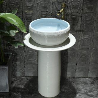 Pillar type lavatory north European is suing floor balcony sink ceramic garden bathroom sink