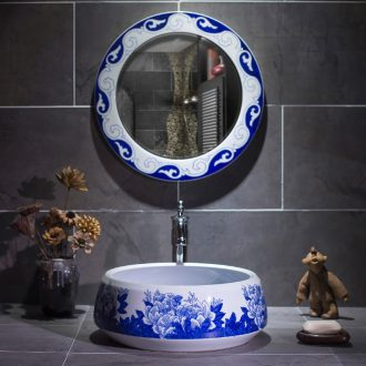 On the Chinese blue and white porcelain basin sink circular home antique Chinese wind of jingdezhen ceramic art basin