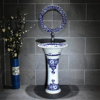 Blue and white pillar lavabo lavatory floor sink basin ceramic toilet one ceramic POTS