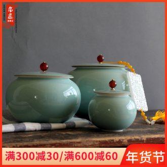 Jingdezhen ceramic film blue classic caddy fixings decoration household hand shadow green POTS, ceramic tea machine 's accessories