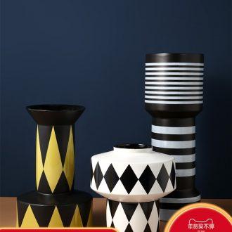 Nordic ceramic vase creative simple black and white geometric pattern designer example room decorates sitting room flower arranging furnishing articles
