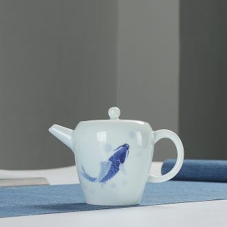 Quiet life hand - made name plum shadow blue teapot celadon pot kung fu tea set ceramic teapot filter ball by hand