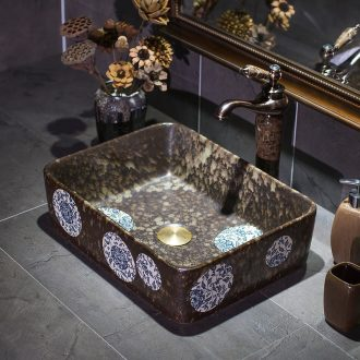 Rectangular antique art ceramic stage basin sink basin bathroom washs a face basin restoring ancient ways home ideas