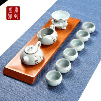 Your up kung fu tea set suits for Your porcelain ceramic teapot teacup of a complete set of domestic cup small open piece of longquan ice crack glaze