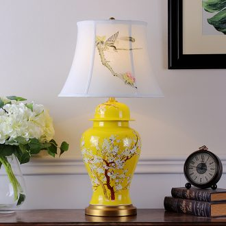 New Chinese style classic ceramic desk lamp sitting room between villa hotel engineering example of bedroom the head of a bed decorative hand - made flowers and birds