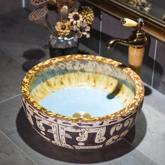 Waist drum art stage basin of restoring ancient ways round ceramic toilet lavatory archaize basin basin on the sink