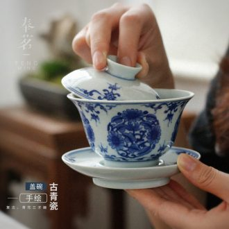 Serve the nameplates, checking out ceramic tureen household retro hand - made porcelain bowl three bowl of Japanese tea only exclusive tea
