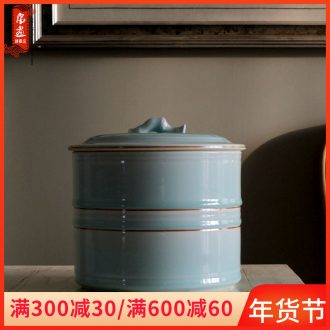Jingdezhen ceramics furnishing articles caddy fixings seven cakes tea tea urn storage device manually throwing teahouse desktop decoration seal