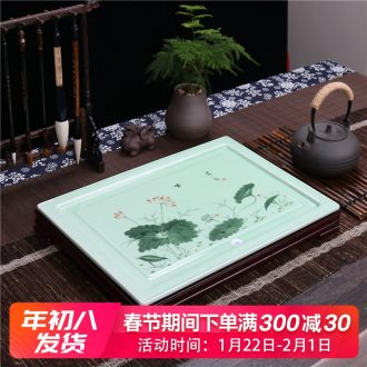 Home sitting room tea set ceramic celadon kung fu tea tray rectangle drainage tea tea tea plate of I and contracted
