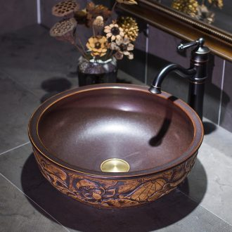 The sink basin sink on restoring ancient ways ceramic household washing basin round antique art creative move