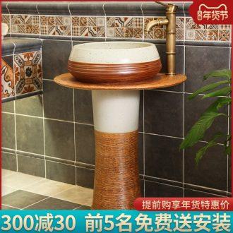 The balcony sink basin of pillar type lavatory art basin one pillar ceramic composite floor toilet