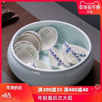 Passes on technique the up celadon tea wash to ceramic cup for wash large writing brush washer water jar celadon tea sea kung fu tea set spare parts