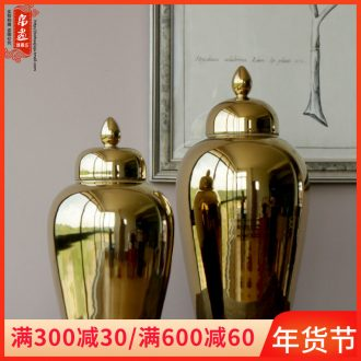 Booking with jingdezhen ceramic dry flower vase gold - plated tall jar of household checking ceramic pot adornment ornament porcelain