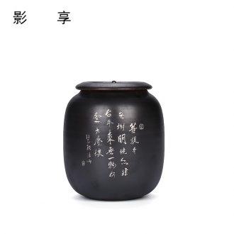 Shadow enjoy tea pot black ceramic seal storage tanks restoring ancient ways of black tea pu - erh tea trace silver custom box M the who was orange