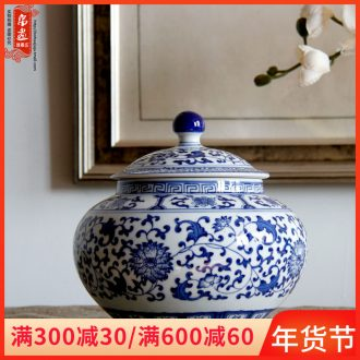 Jingdezhen blue and white porcelain tea pot of tea cake box primitive simplicity decoration household ceramics creative tea ware porcelain