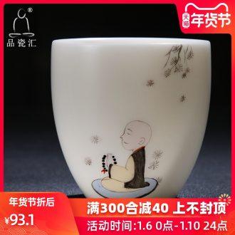 The Product sample tea cup ceramics single white porcelain porcelain remit kunfu tea cup master single CPU hand - made the young monk ceramic tea set