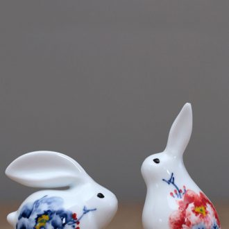 Jingdezhen ceramic furnishing articles, small rabbit ins creative lovely family adornment desktop lucky feng shui and good luck