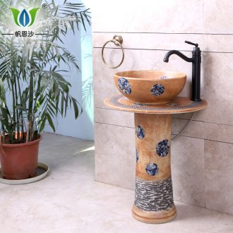Ceramic sanitary ware vertical landing stage basin sink art one - piece color balcony sink basin