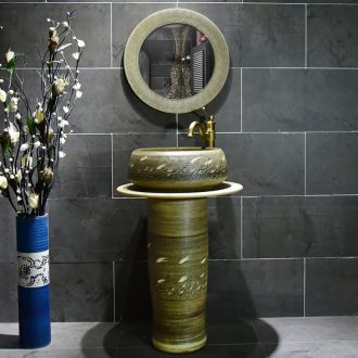 Ceramic column basin bathroom sink sink the pool that wash a face simple floor balcony one wind reed