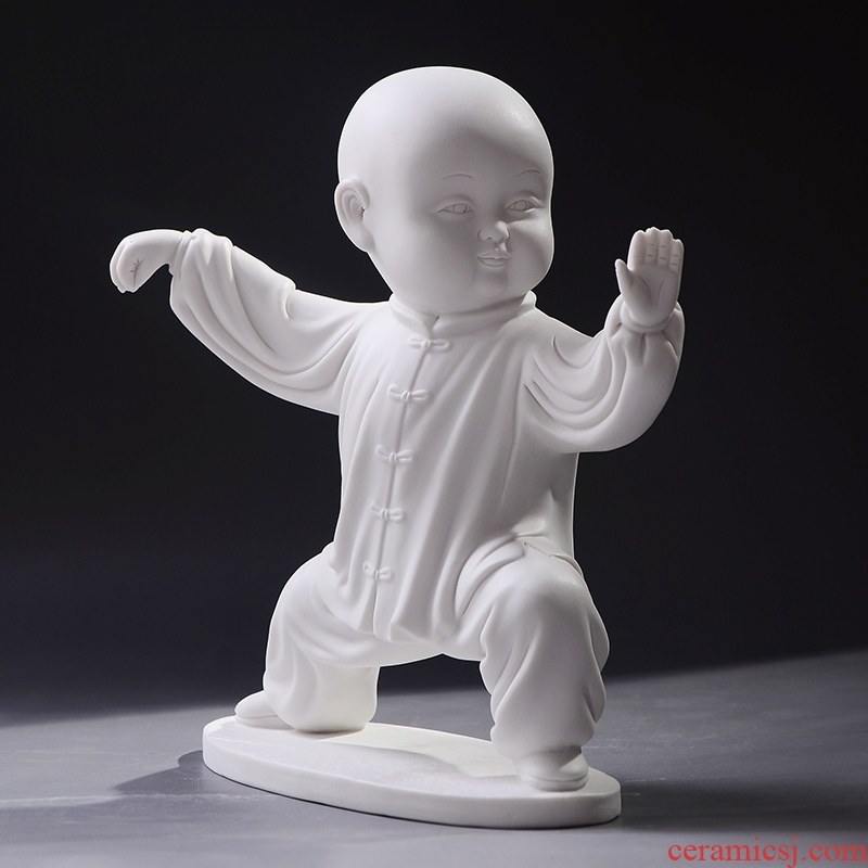 Chinese ceramic tai chi kung fu characters furnishing articles manual white porcelain, porcelain its office home desktop accessories