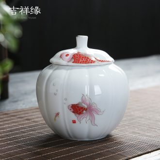 Auspicious yuan blue and white caddy fixings ceramic packing gift box general puer tea in the small seal pot double pot of tea boxes
