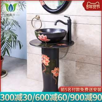 Carving peony ceramic column basin one floor type lavatory sink is suing courtyard garden is suing the pool