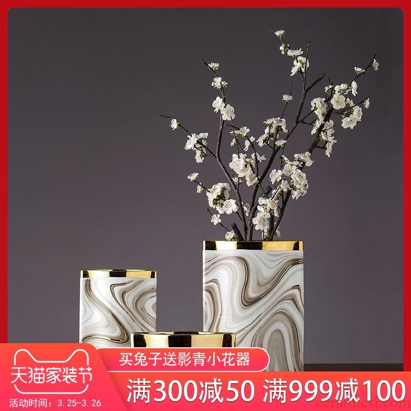 European ceramic flower imitation marble decorative bottle light key-2 luxury home sitting room TV ark adornment porch decoration
