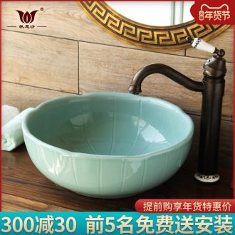 Jingdezhen stage basin of restoring ancient ways round ceramic art basin is the basin that wash a face basin to wash dish creative the sink