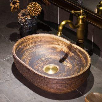Jingdezhen Europe type restoring ancient ways on the wood grain ceramic POTS elliptic toilet lavabo Chinese style household basin