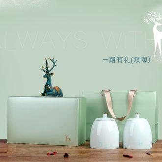 "High - end atmosphere caddy fixings ceramic seal baekho silver needle tea gift boxes aneroid ""biluochun"" tea boxes"